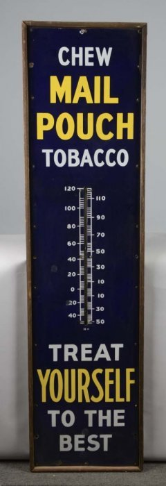 Mail Pouch Tobacco Porcelain Thermometer Sign