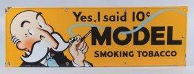 Model Smoking Tobacco Porcelain Sign