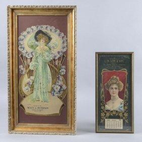 Lot Of 2: Framed 1907 Calendar & 1908 Advertising