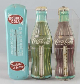 Lot Of 7: Small Tin Advertising Thermometer Signs