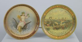 Lot Of 2: Beer Advertising Tin Round Serving Trays