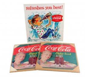 Lot Of 3: Coca - Cola Square Signs.
