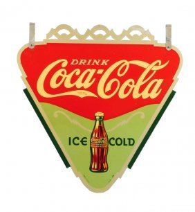 1935 Coca - Cola Double Sided Triangular Sign.