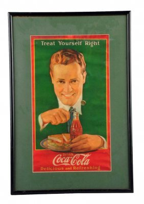 1920's Coca - Cola Paper Poster With Man.