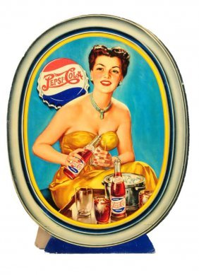 Ca. 1950 Pepsi - Cola Cardboard Oval Sign.