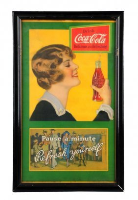 1920's Coca - Cola Paper Poster With Girl.