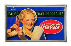1935 Coca - Cola Two - Sided Cardboard Sign.