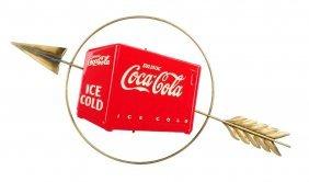 1930's Coca - Cola Cooler And Arrow Sign.