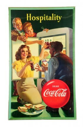 1948 Large Vertical Coca - Cola Poster.