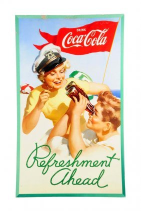 1952 Large Vertical Coca - Cola Poster.