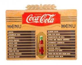 1930's Coca - Cola Plywood Menu Board.