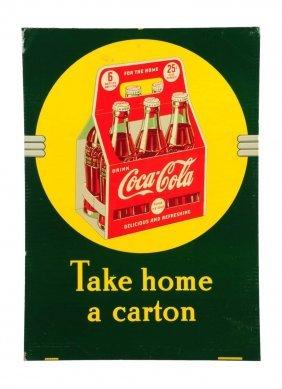 1940 Coca - Cola Embossed Tin Sidewalk Sign.