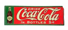 1908 Embossed Tin Coca - Cola Sign.