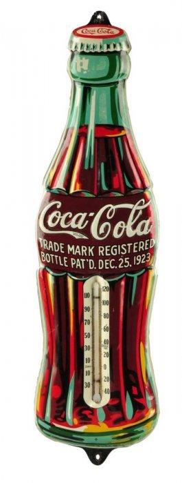 1932 Coca - Cola Embossed Tin Thermometer.