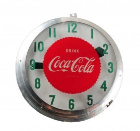 1940's - 50's Coca - Cola Lighted Outdoor Clock.