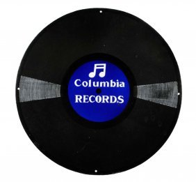 Columbia Records Porcelain Sign.
