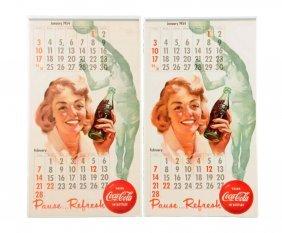 Lot Of 2: 1954 Coca - Cola Calendars.