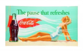 1957 Coca - Cola Bathing Girl Cardboard Poster.