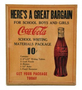 1930's Coca - Cola Cardboard Sign.