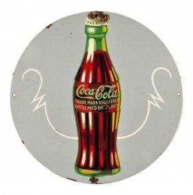 1930's Coca - Cola Porcelain Sign.