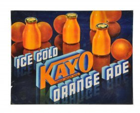1940's - 1950's Kayo Orange Cardboard Sign.