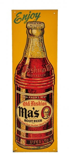 Ma's Root Beer Embossed Tin Sign.