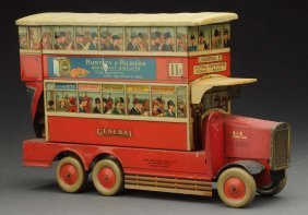 Rare English Huntley & Palmers Bus Biscuit Tin.