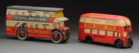 Lot Of 2: English Tin Litho Double Decker Buses.