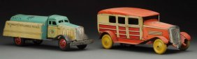 Lot Of 2: Tin Litho Wind-up Argentinian Vehicles.