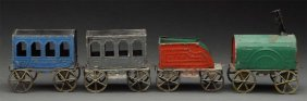 Early Handpainted Toy Passenger Train.