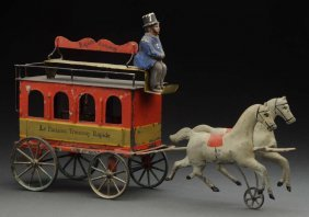 Early French Horse Drawn Omnibus Toy.
