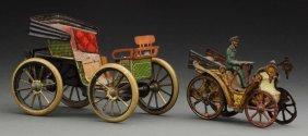 Lot Of 2: Early German Tin Litho Vis-À-vis Autos.