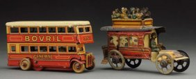 Lot Of 2: German Tin Litho Penny Toy Vehicles.