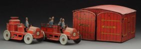 German Tin Litho Wind-up Orobr Firehouse Set.