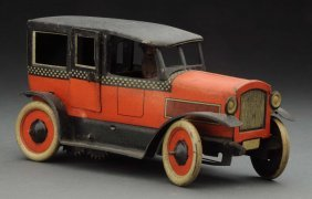 German Tin Litho Wind-up Orobr Checkered Taxi Toy.