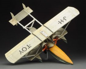 Unusual Cont. Tin Litho Sikorsky Flying Boat Toy.