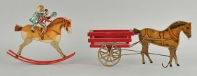 Lot Of 2: Early Paper On Wood Gibbs Horse Toys.