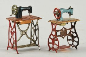Lot Of 2: German Tin Sewing Machine Penny Toys.