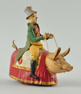 German Lehmann Tin Wind-up Paddy & The Pig Toy.