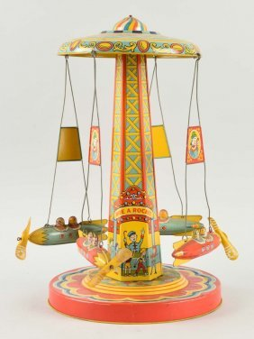 Chein Tin Litho Wind-up Ride-a-rocket Toy.