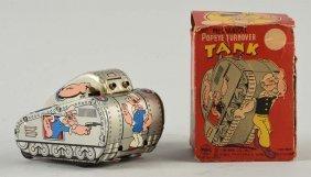 Linemar Tin Litho Popeye Tank Toy.