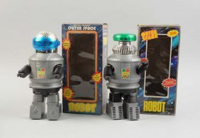 Lot Of 2: Plastic Battery Operated Robots.