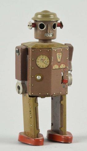 Japanese Wind Up Tin Litho Atomic Robot Man.