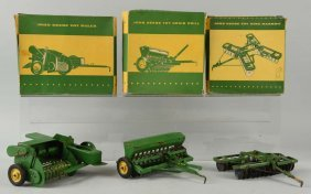 Lot Of 3: Am. Metal John Deere Eska Farm Toys.