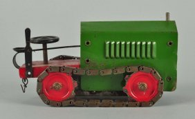 Pressed Steel Structo Clockwork Tractor Toy.