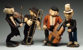 A Rare Set Of Four Felt Steiff Musicians With Ids.