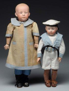 Lot Of 2: Heubach Character Dolls.