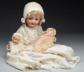 Lot Of 3: German Bisque Head Babies.