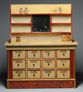 Unusual Wooden Doll Kitchen Or Shop Display.