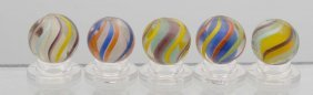 Lot Of 5: English Style Solid Core Swirl Marbles.